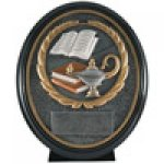 Premium Resin Ovals -Lamp of Knowledge Premium Resin Oval Trophy Awards
